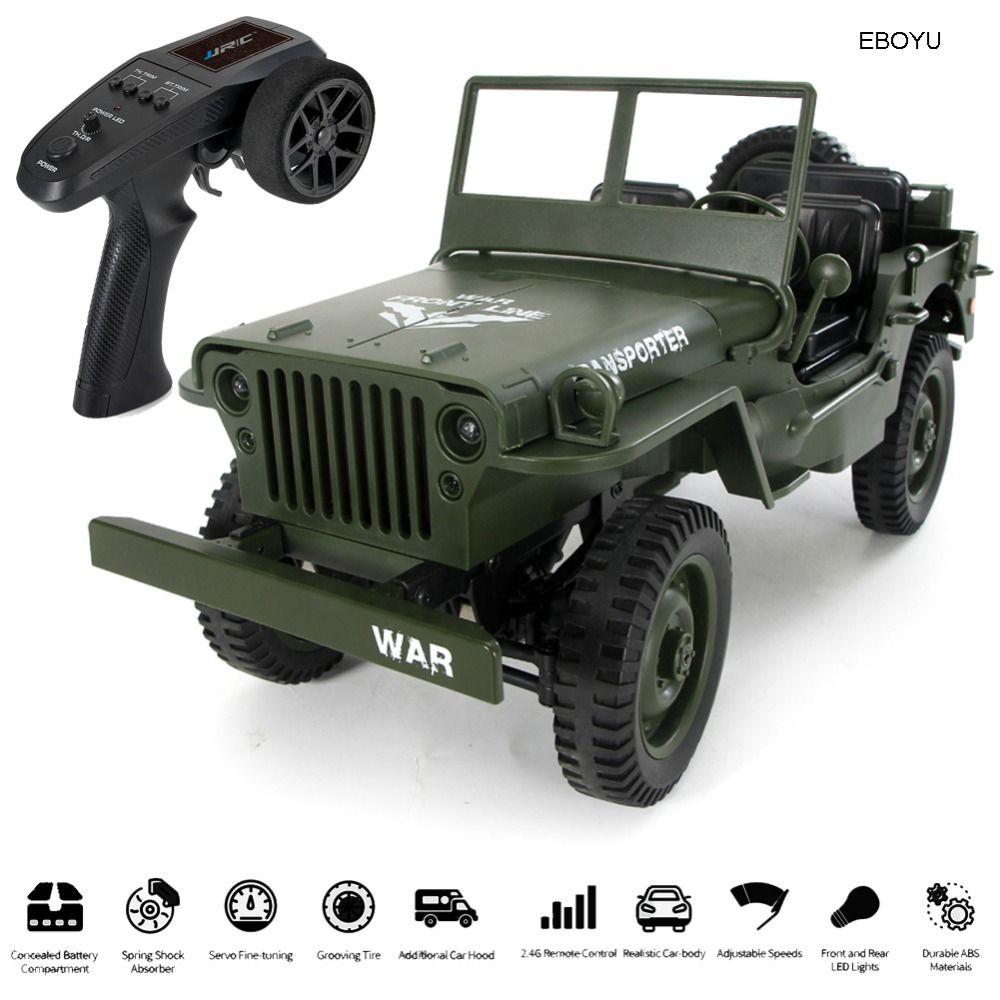 JJRC Q65 1/10 militaire RC Jeep 2.4G pleine échelle Proportion 4WD 15 KM/h militaire RC voiture tout-terrain Buggy voiture avec feux de route RTR