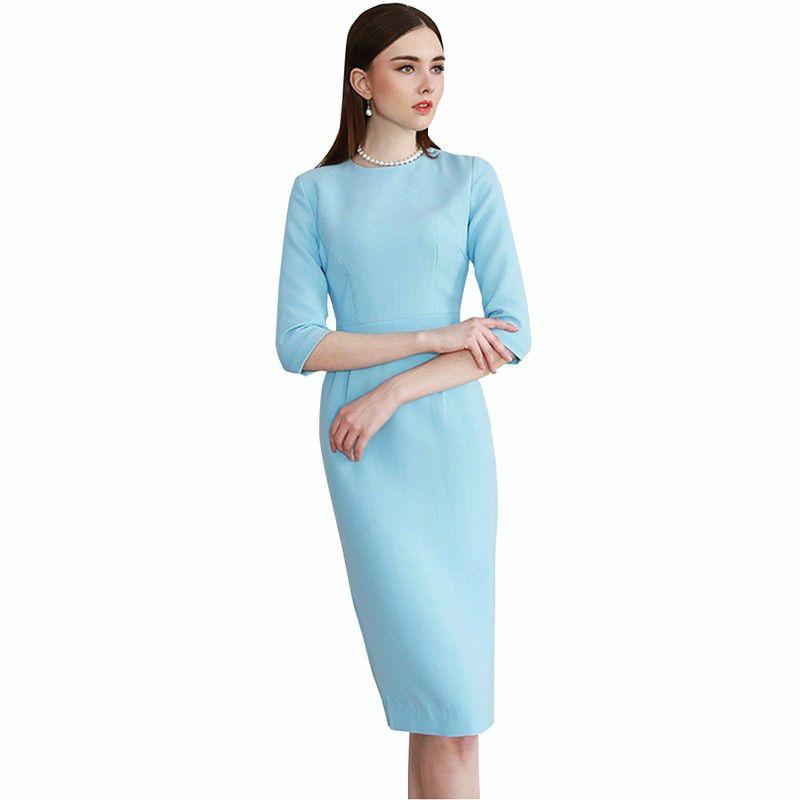 Young17 Для женщин летнее платье карандаш Половина рукава по колено элегантный светло-синий женский Повседневная обувь Платья для женщин леди ...