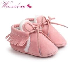 Newborn Baby Boy Girl PU Suede Leather Moccasins Fringe Soft Soled Non-slip Footwear  Shoes