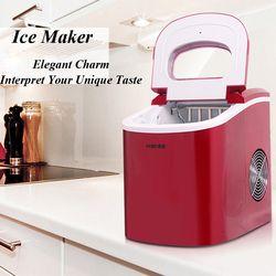 Hielo hogar fabricación de hielo pequeña máquina de hielo comercial leche tienda de té máquina de hielo en color rojo HZB-12A