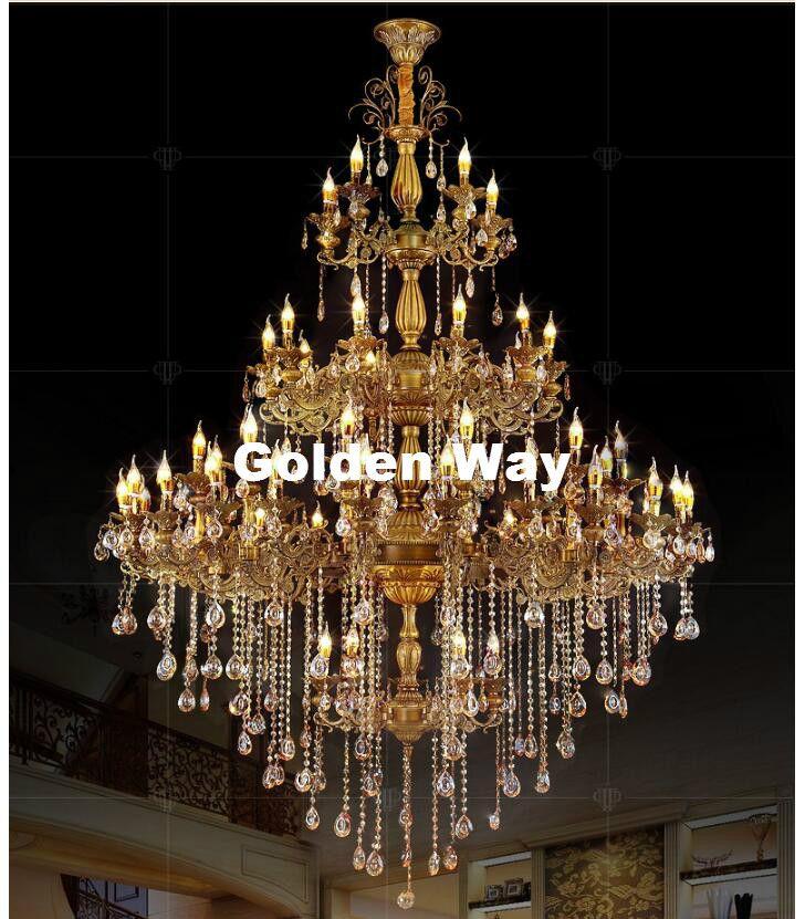 Free Shipping Alloy Chandelier Large Elegant Brass Color Crystal Suspension Light Fixture for Hotel Restaurant Foyer Home Lights
