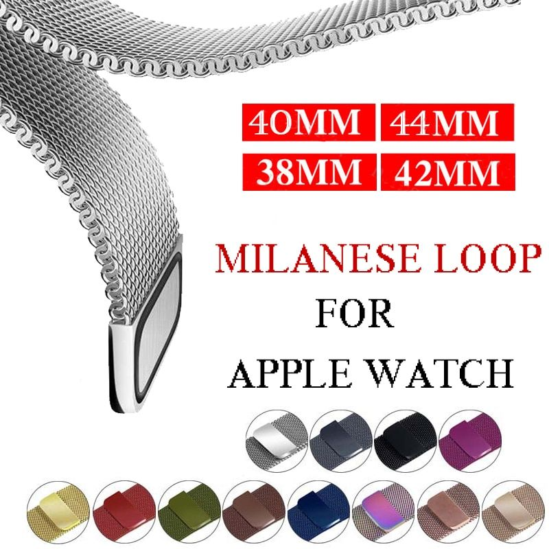 Milanese loop Strap for apple watch band iwatch Band 42mm 38mm 44 mm 40mm stainless steel Bracelet watchband for apple watch 4