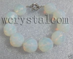 18mm Round Faceted Opalite Moonstone Bracelet 8