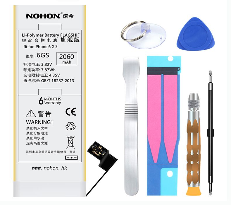 Original NOHON Brand Battery Lithium Internal Replacement Bateria 2060mAh High Capacity with Tools For IPhone 6S 6GS