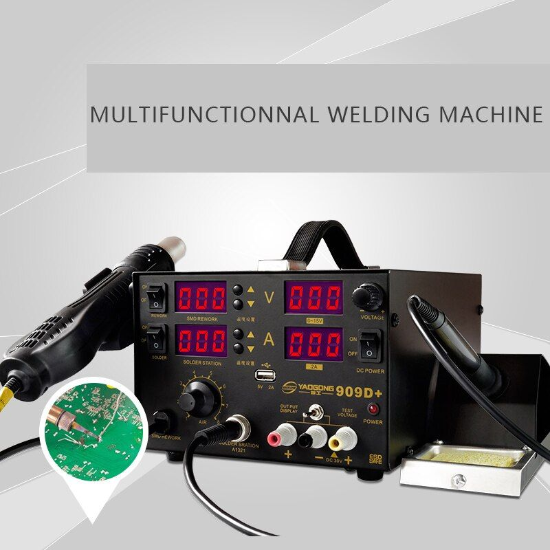 YAOGONG New Long Life 909D+ 3 In 1 With DC Power <font><b>Supply</b></font> Hot Air SMD Soldering Iron Rework Station