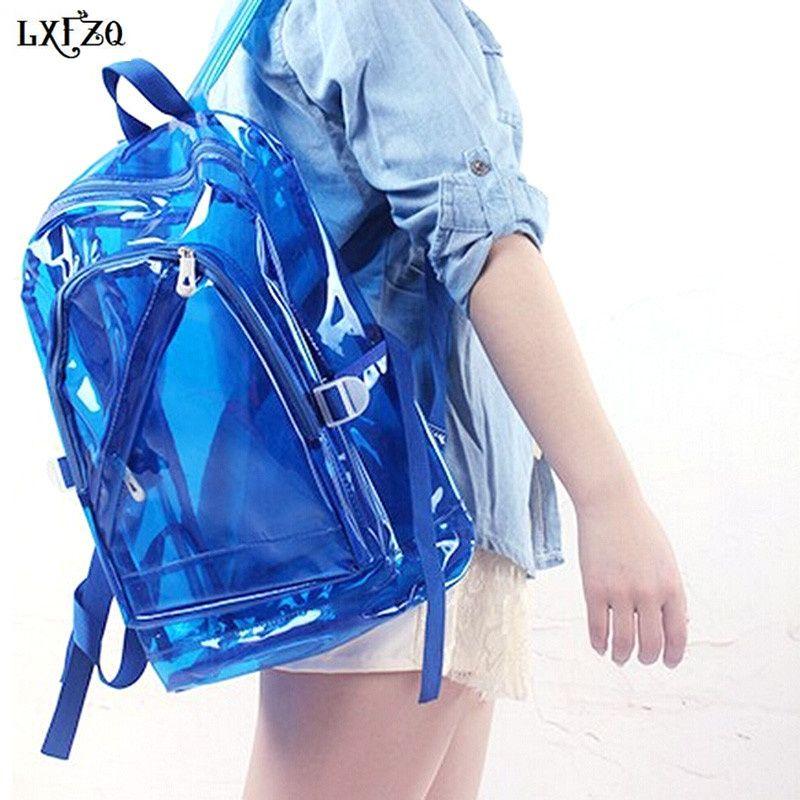 LXFZQ nouveau sac à dos étanche Transparent en plastique Transparent pour les adolescentes PVC sacs d'école épaules sac espace sac à dos cahier