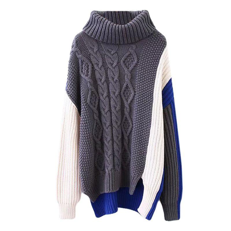 Sweater female 2018 autumn new temperament loose multi-color stitching sweater high collar sweater casual shirt elegant fashion