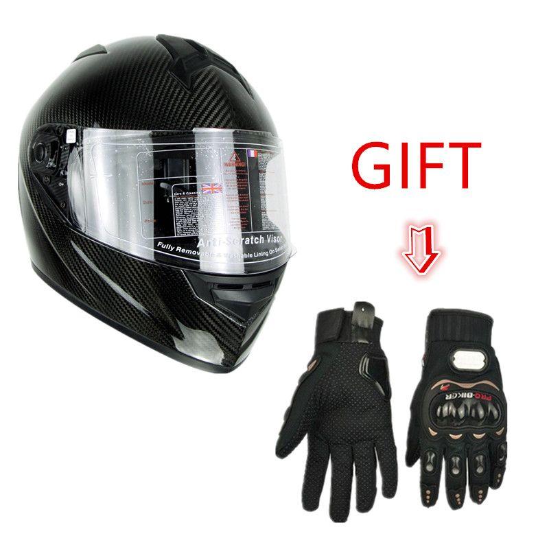 Cyclegear High grade Carbon Fiber Full Face Motorcycle Helmet Racing Casco ECE Motocross HD UV400 ligth Helmets +Free Gloves