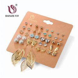 DANZE Punk 20 pares Set Brincos mixto pendientes para las mujeres cristal Stud pendientes moda Simulated Pearl joyas