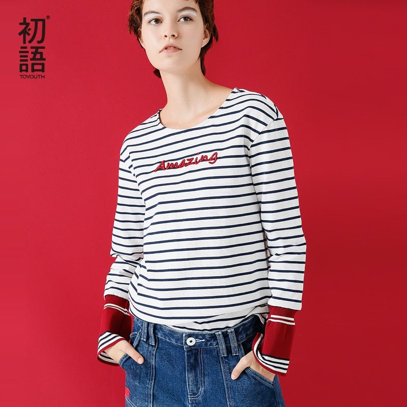 Toyouth T-shirts 2017 Winter New Arrival O Neck Stripe Loose Letters Embroidery Flare Sleeves Long Sleeves T-shirt
