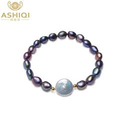 ASHIQI Genuine 12-13mm Button Freshwater Pearl Bracelets Natural Black Baroque Pearl for women with 925 Sterling Silver Bead