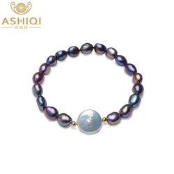 ASHIQI Véritable 12-13mm Bouton Perle D'eau Douce Bracelets Naturel Noir Baroque Perle pour les femmes avec 925 Sterling Argent perle