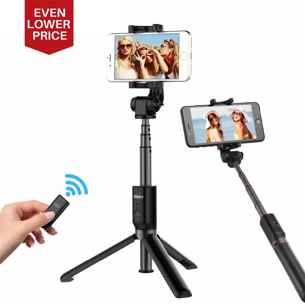 <font><b>Ulanzi</b></font> 3 in 1 Handheld Phone Tripod Selfie Stick Extendable Monopod with Bluetooth Remote Control for iPhone X 8 7 Plus Samsung