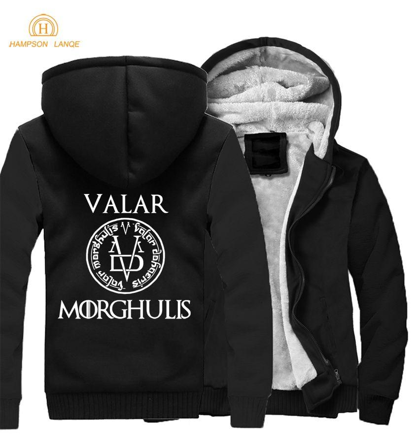 Game of Thrones Jacket All Men Must Die Valar Morgulis Letters Print Hoodies 2018 Winter Warm Harajuku Sweatshirts Hot Men Coat