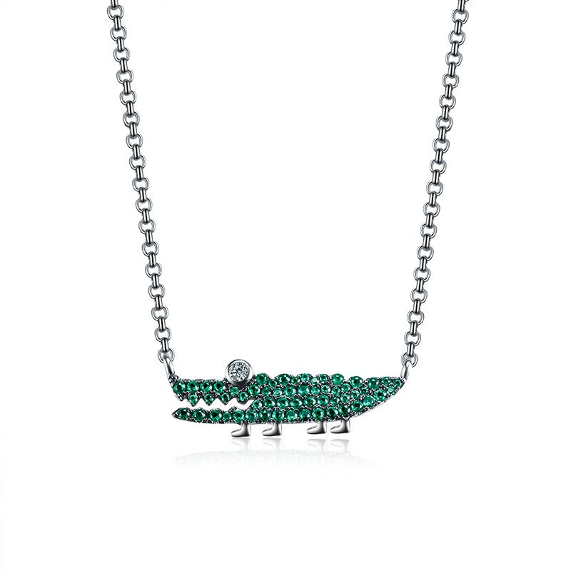 2018 Europe New Fashion Zircon Green Crocodile Necklace Female Jewelry zk40