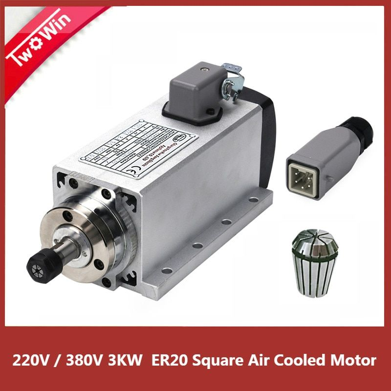 CNC 3KW 220 v/380 v Platz Spindel 80mm ER20 Luftgekühlten Motor Maschine Werkzeug Spindel für CNC fräsen Maschine