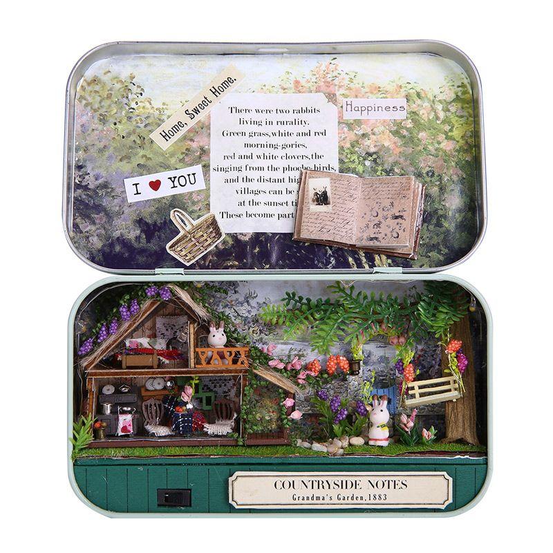 1:12 casa de Muñecas En Miniatura Modelo Kits Caja De Hierro DIY de la Muchacha País Ascensor Casa de Juguete Jardín Caja de CAJA de Regalos de Navidad de Cumpleaños TEATRO
