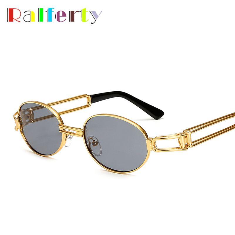 Ralferty Rétro Petites lunettes de Soleil Rondes Hommes Mâle Vintage Steampunk Lunettes De Soleil Femmes Hip Hop Or Lunettes Lunettes UV400 lunette