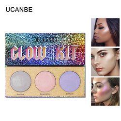 UCANBE marca 3 Color Chameleon Highlighter maquillaje paleta azúcar cristal destacando Bronzer Glow Shimmer sombreador de ojos cosméticos Kit