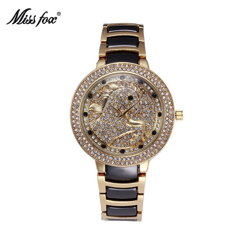 MissFox лучший бренд класса люкс Для женщин Часы модные женские туфли лошадь Часы женский розового золота с бриллиантами кварцевые часы Relogio ...