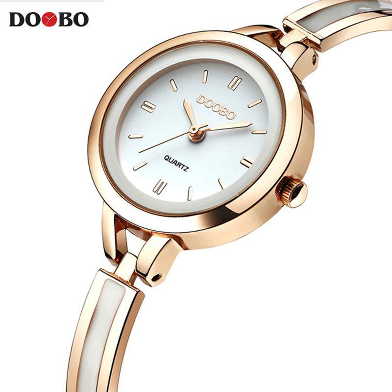 Original DOOBO Pulsera Relojes para Dama Vestido de La Manera Estilo de la Cadena de Joyería de Oro Con Encanto Reloj de Cuarzo Mujeres Viste el Reloj