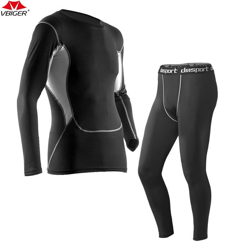 Vbiger Men Running Set Long Sleeve Running T-shirt Tights Pants Quick Dry Sport Gym Fitness Clothing Underwear Set