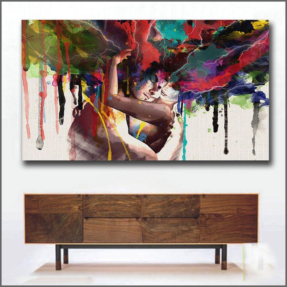 Wlong amour baiser peinture à l'huile toile Art peintures pour salon mur pas de cadre décoratif photos abstraite Art peinture
