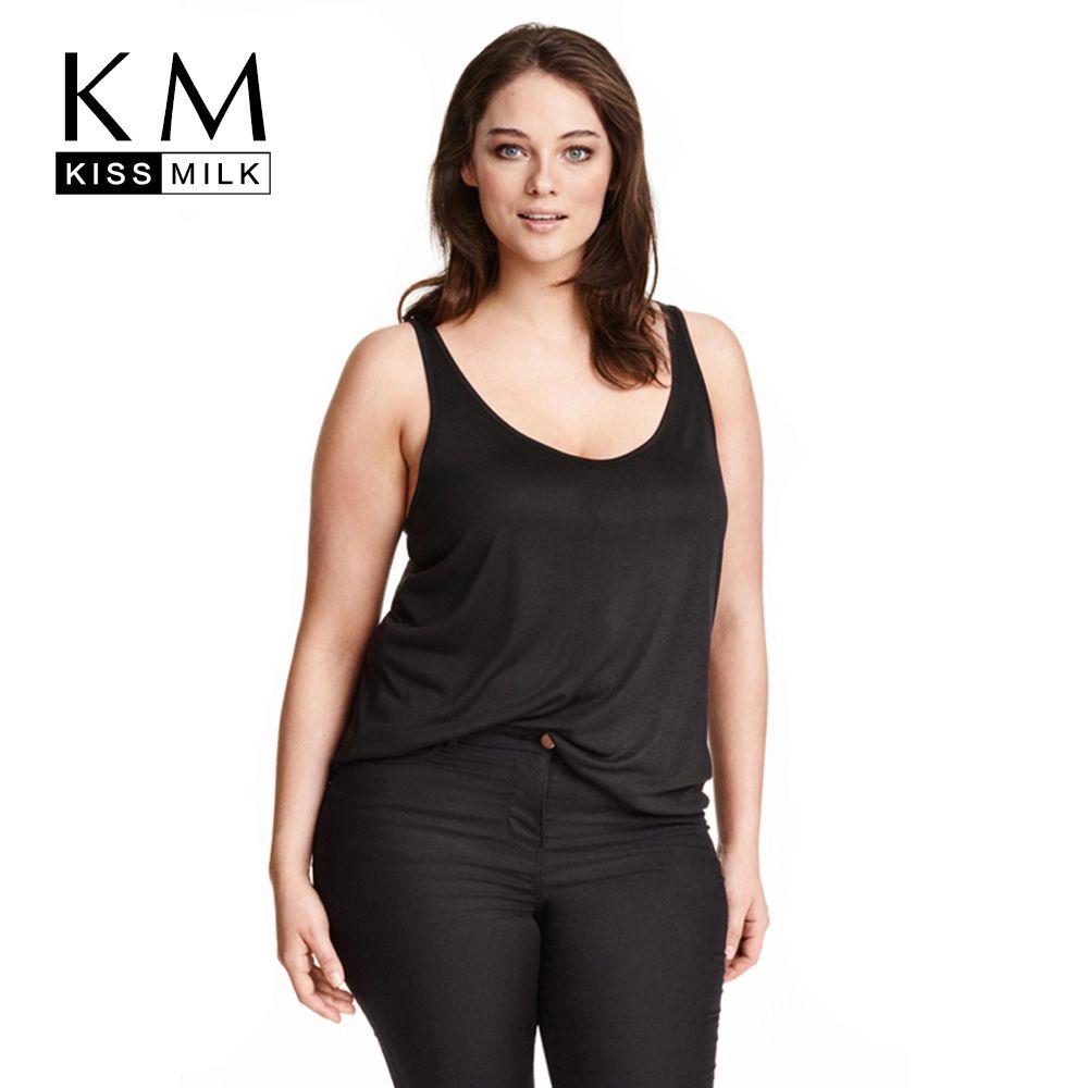 Kissmilk Plus Size New Fashion Women Clothing Basic Loose Tops Solid Casual Tank Brief O-Neck Big Size Tank 4XL 5XL 6XL 7XL