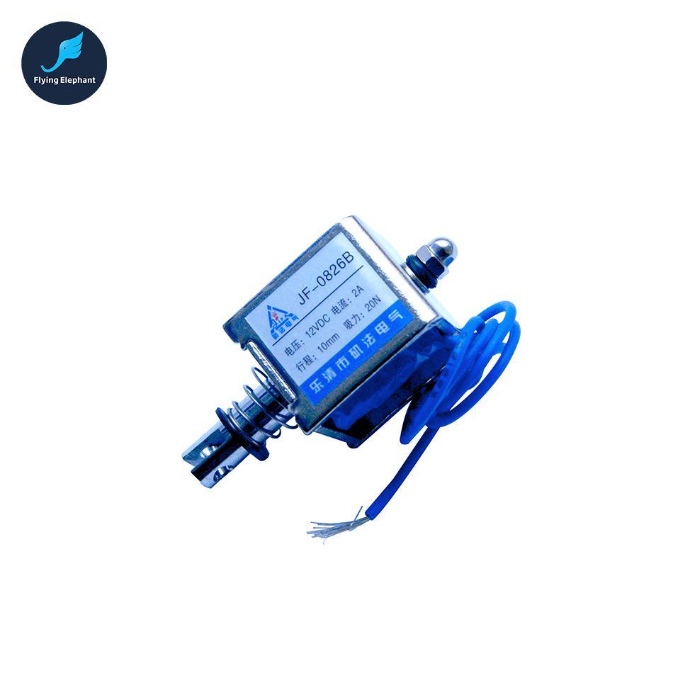 JF-0826B DC 12V or 24V Push Type Open Frame Linear DC Solenoid Electromagnet Suction 150g 10mm 2A 15N Holding