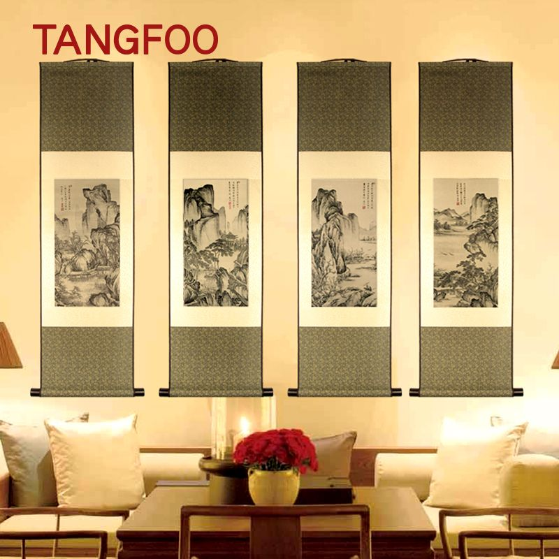 Antique Chinese characteristic Scroll Painting Silk Landscape Painting national treasure classic wall picture hanging home decor