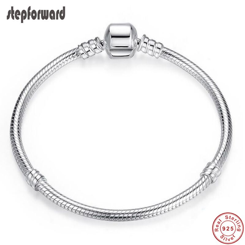 Top Quality14-22cm Silver Snake Chain Jewelry 925 Sterling Silver Bracelet Fitting European Popular Charms