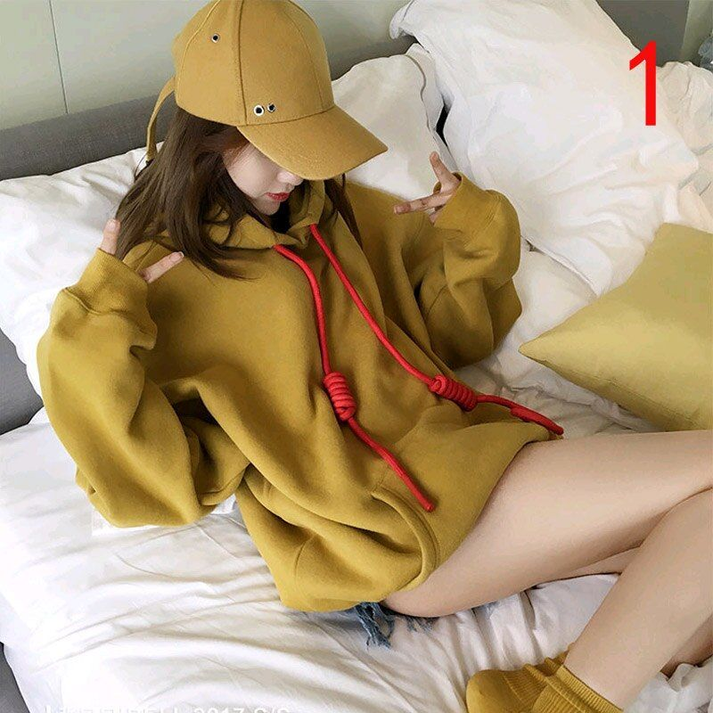 2018 Spring and Autumn Korean version of the new women's hooded hooded long-sleeved loose BF wind solid color sweater