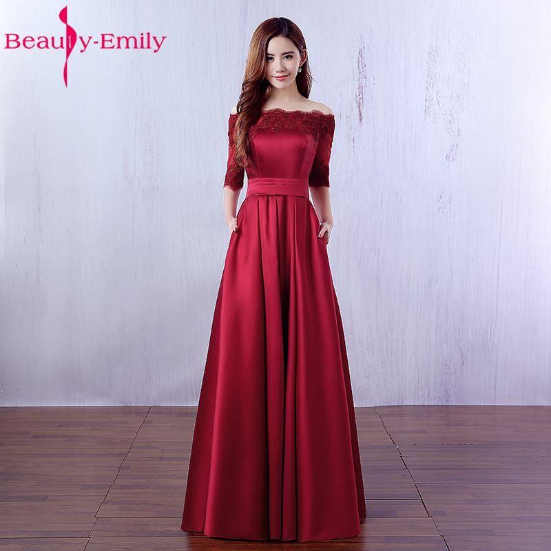 Beauty Emily Elegant Wine Red Long Evening Dresses 2018 Lace Pocket Satin Custom Made Women Party Prom Dresses Robe De Soiree