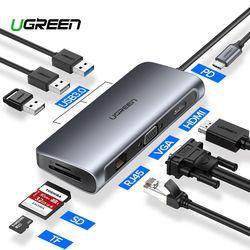 Ugreen USB концентратор C концентратор для Мульти USB 3,0 HDMI адаптер док-станция для MacBook Pro Аксессуары USB-C Тип C 3,1 сплиттер 3 порта USB C концентратор