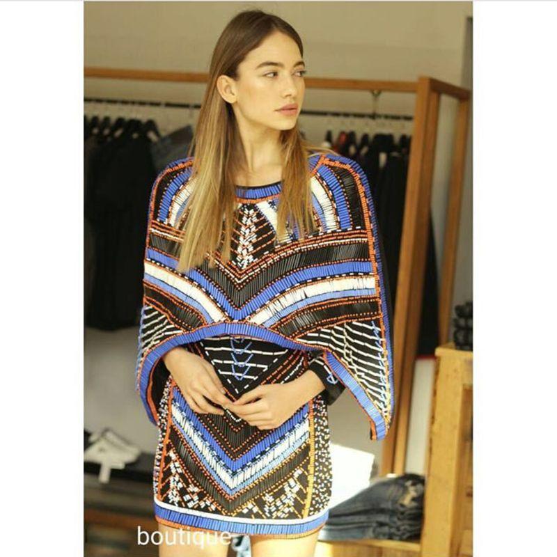 Высокое качество Новые Мода 2016 г. Barocco уникальный взлетно-посадочной полосы платье Для женщин рукав