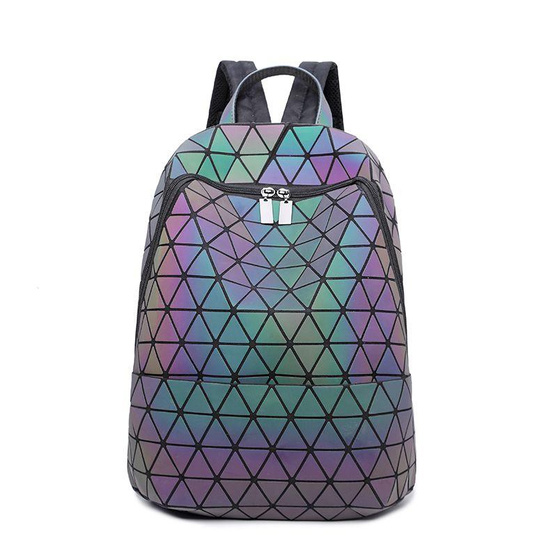 10 шт. световой рюкзак Diamond решетки сумка геометрический Для женщин мода девочка-подросток студентов школы Серебристые рюкзак