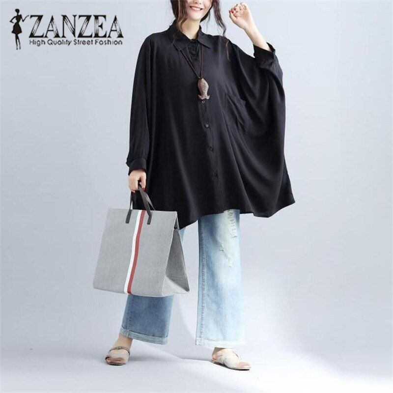 2017 ZANZEA Autumn Elegant Women Blouse Blusas Turn <font><b>Down</b></font> Collar Batwing Sleeve Irregular Buttons Solid Casual White Shirt M-5XL