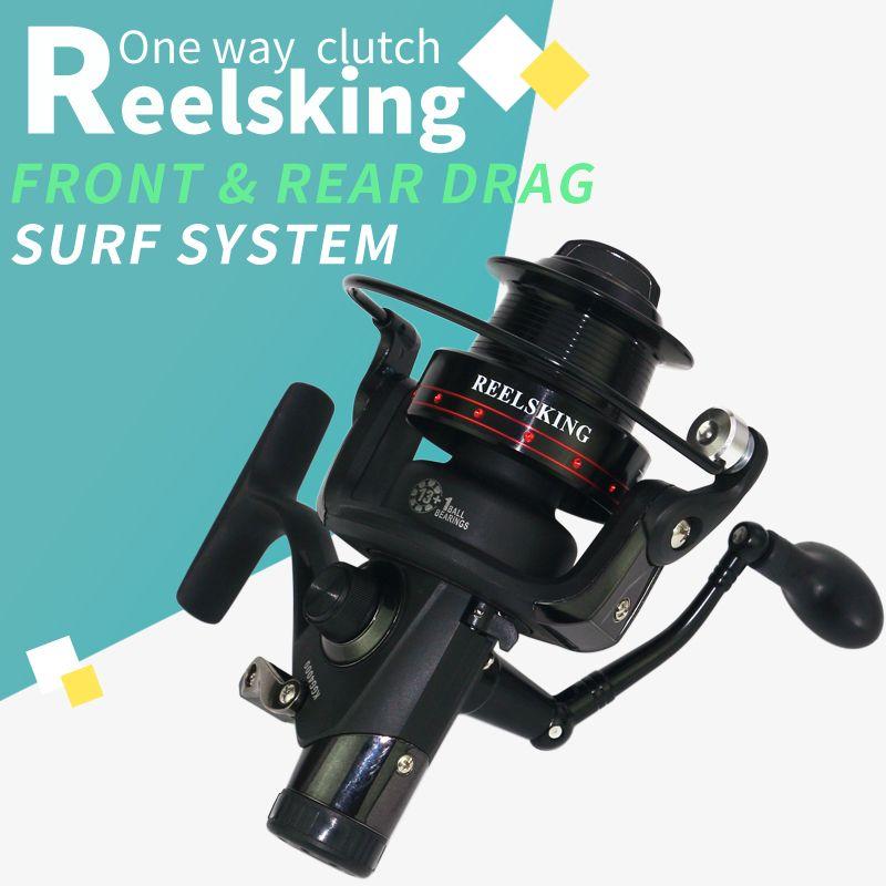 2018 NEW REELSKING 13+1 Ball Bearings Front and rear brake CNC rocker arm baitrunner fishing reel surf system reel