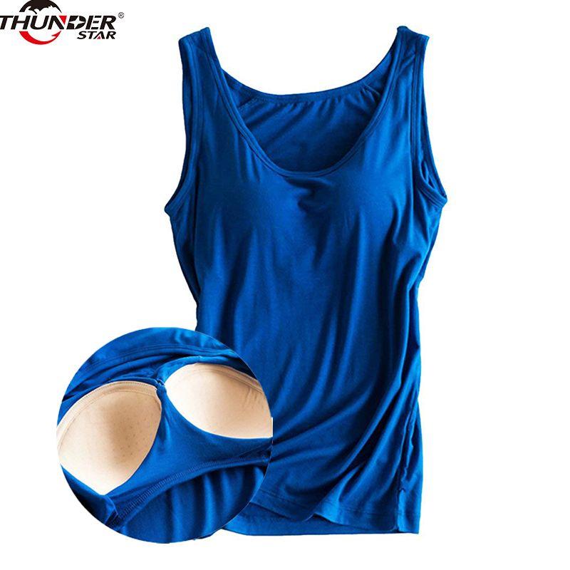 Femmes Construit En Soutien-Gorge Rembourré Débardeur Femelle Modal Respirant Fitness Camisole Tops Solide Push Up Soutien-Gorge Gilet Blusas Femininas