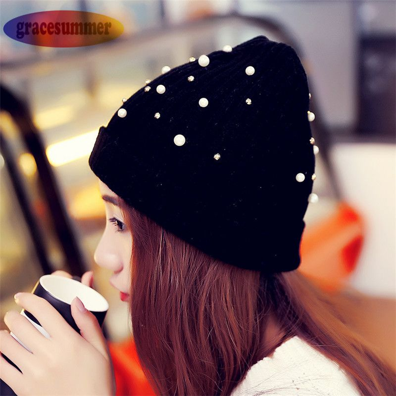 Nuevas Mujeres de Invierno Caliente de la Gorrita Tejida de La Perla de Lana de Tejer Sombrero casquillo del sombrero del invierno para las mujeres de la muchacha del sombrero de punto gorros cap gorros