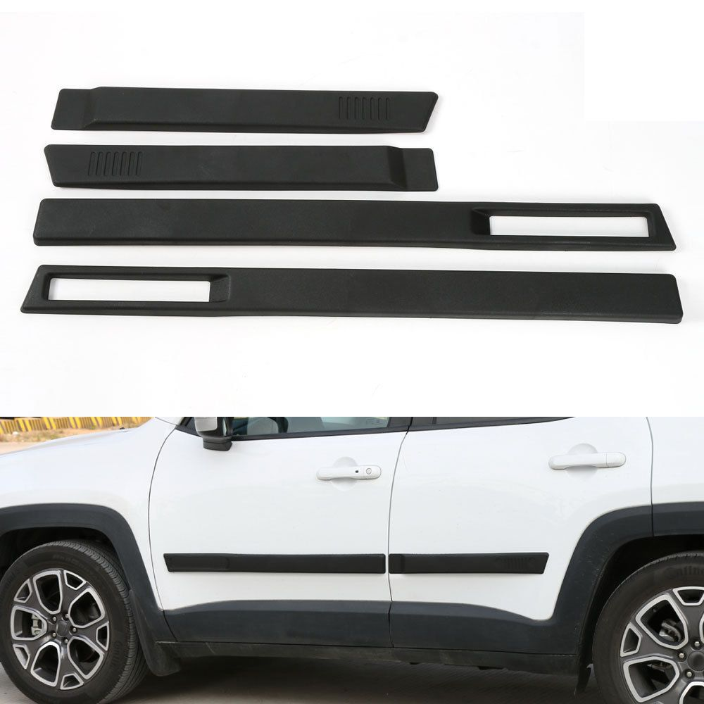 BBQ@FUKA 4pcs Car Body Side Door Cover Trim Kit Molding Protector Sticker Styling Fit For Jeep Renegade 15-2016 Car Accessories