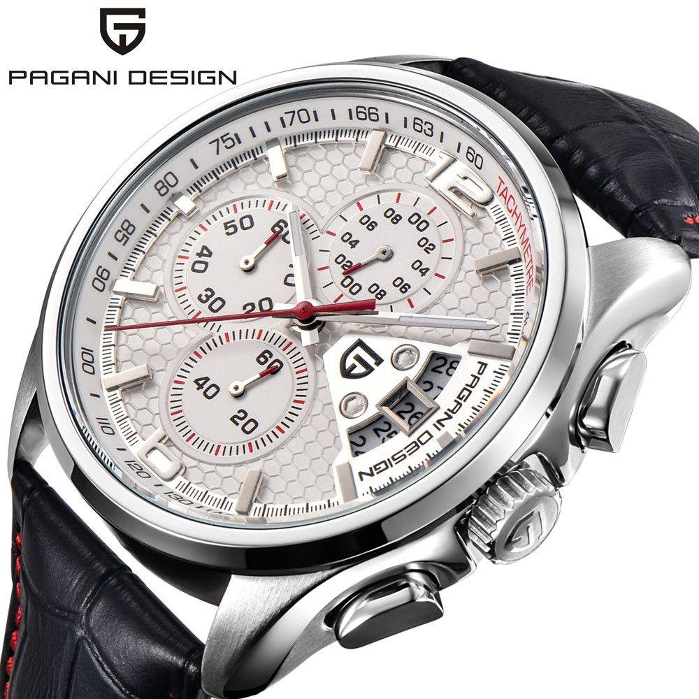 PAGANI DESIGN Men's Chronograph Watches Top Brand Luxury Waterproof Sport Watch Leather Quartz Wrist Watch Men Clock relojes