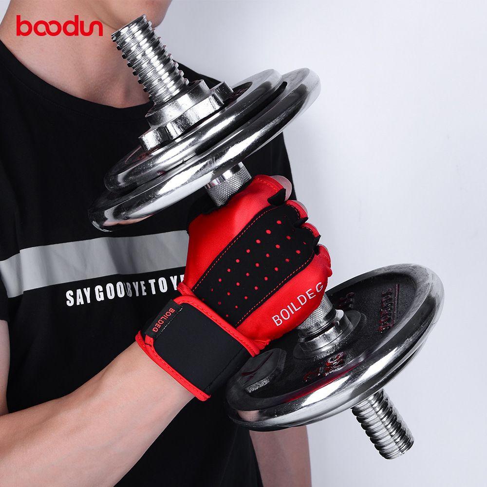 BOODUN Men Women Gym Gloves Extended Wristband Fitness Gloves Bodybuilding Weight Lifting Dumbbell Barbell Workout Sport Gloves