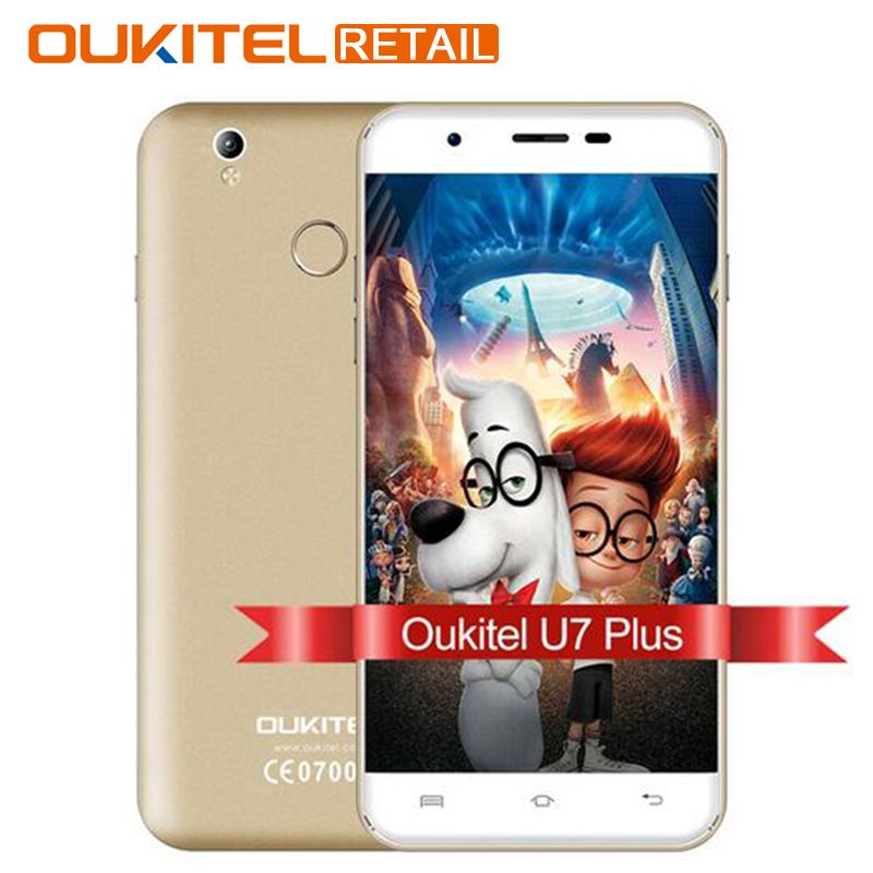 D'origine OUKITEL U7 Plus 5.5 Pouce Mobile téléphone Android 6.0 MTK6737 Quad Core1.3GHz 2G RAM 16G ROM 13MP d'empreintes digitales