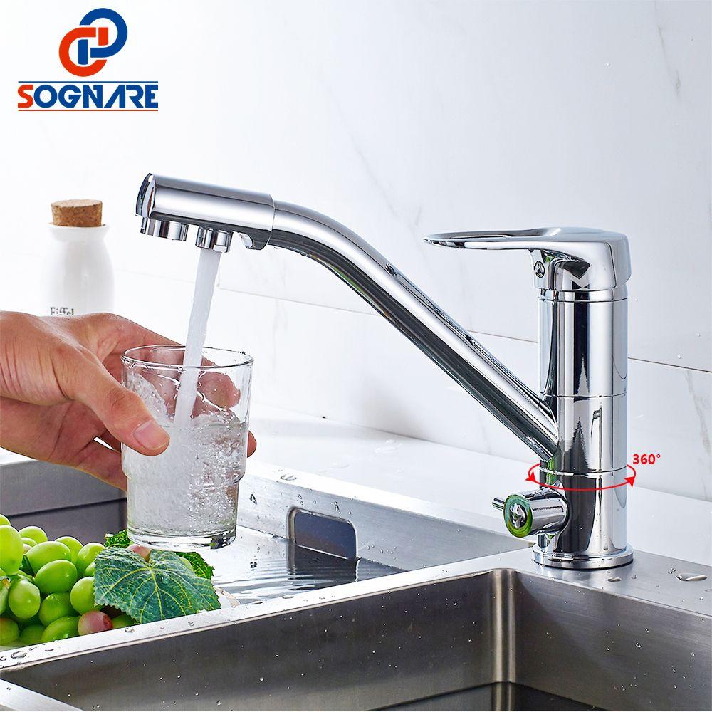 SOGNARE 100% Messing Swivel Küchenarmatur Trinkwasserhahn 3 Way Wasserfilter Tippen Heiß Kalt Swivel Stil Waschbecken Mischbatterie D2102