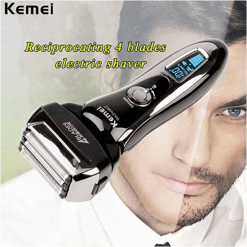 4 Blade Maglev Cutting System Rechargeable Electric Shaver Washable Reciprocating Electric Razor For Men Face Beard Shaving LCD