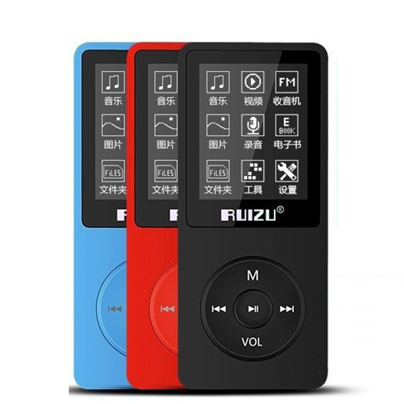 Original RUIZU X02 MP3 Player With 1.8 Inch Screen Can Play 80 hours With FM,E-Book,Clock,Voice Recorder