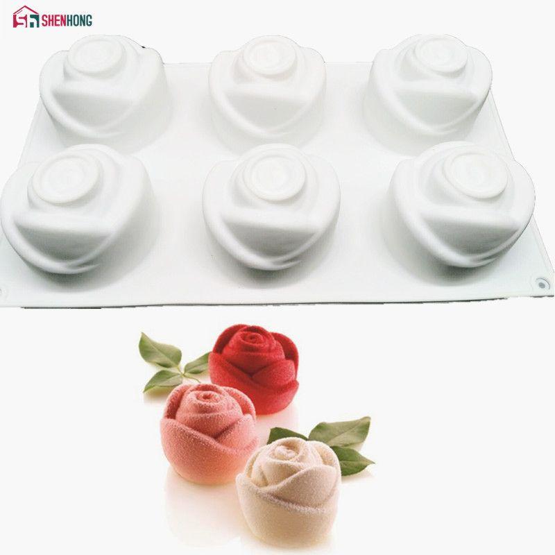 SHENHONG 3D Rose Art Dessert gâteau Moule Pop Silicone Moule Mousse chocolats Silicone Silicone Moule cuisson pâtisserie décoration outils