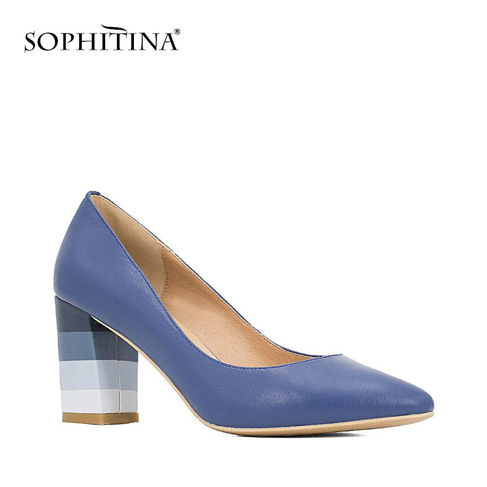 SOPHITINA Genuine Leather Pumps Multicolour Square Heel Dark Blue Black Beige High Quality Sheepskin Pointed Toe Shoes Women D24