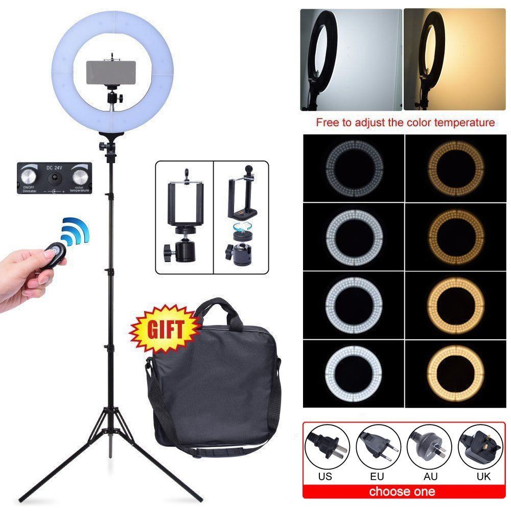 Fotoconic 60W 35cm 2700K~5500K 336 LED Dimmable Ring Light + Camera Phone Holder + Bag + Stand fr Photography Video Photo Selfie